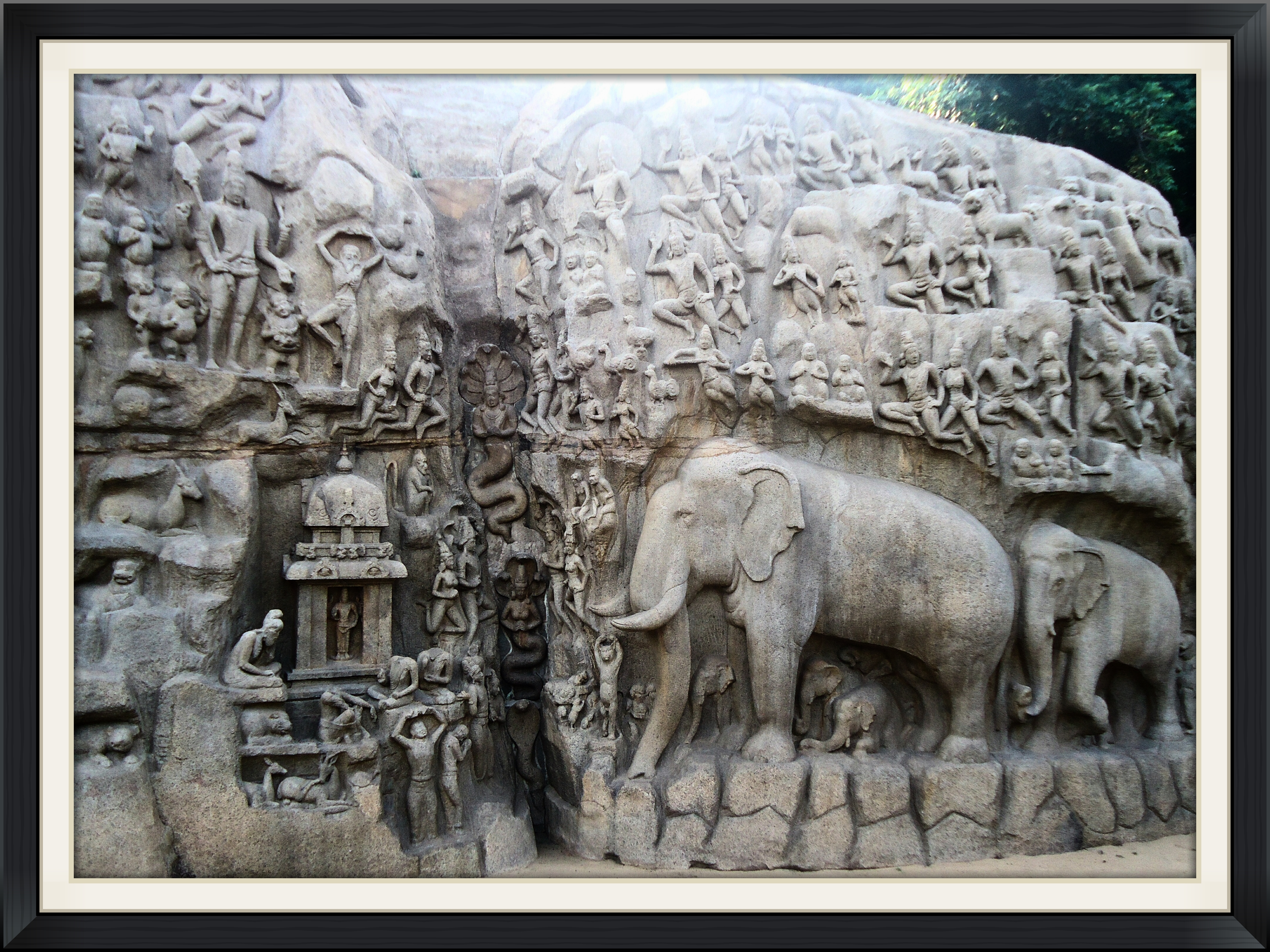 A picture of a monolithic sculpture - Mahabalipuram