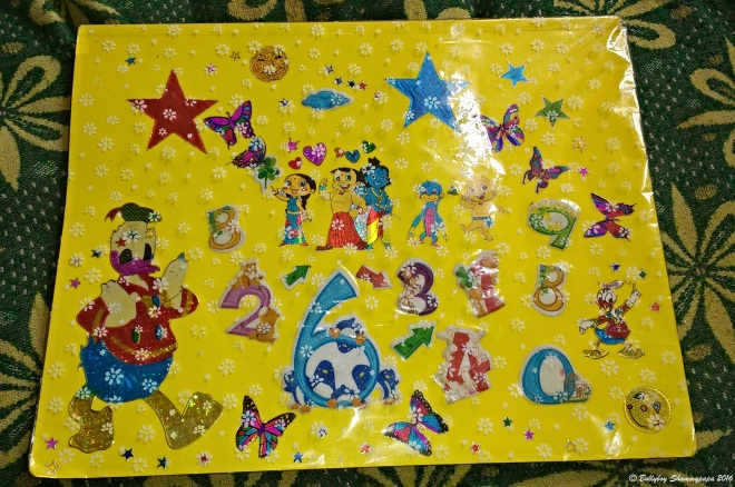 A picture of a scrap book with yellow sky theme