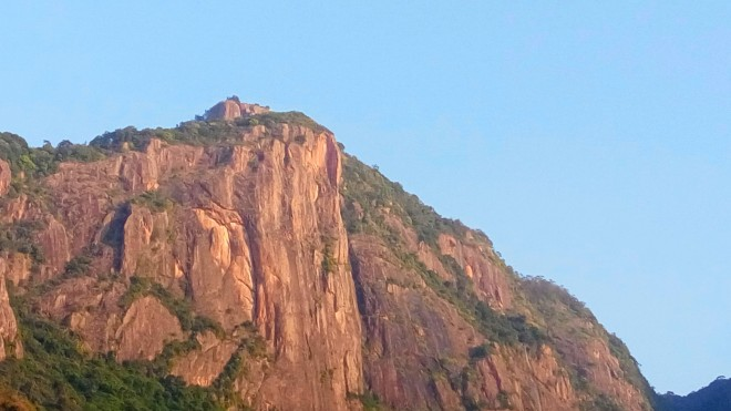 A view of a peak of a mountain