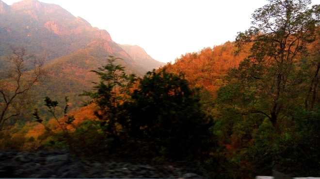 Silence is Golden - A view of Sun-rays reflected on the Mountains
