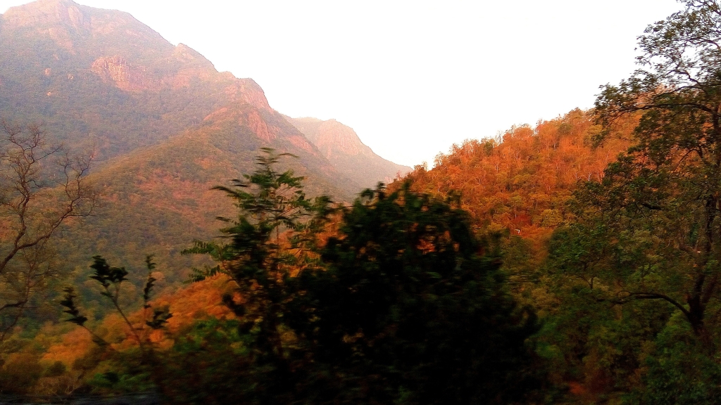 Silence is Golden - A view of golden Sun-rays reflected on the Mountains