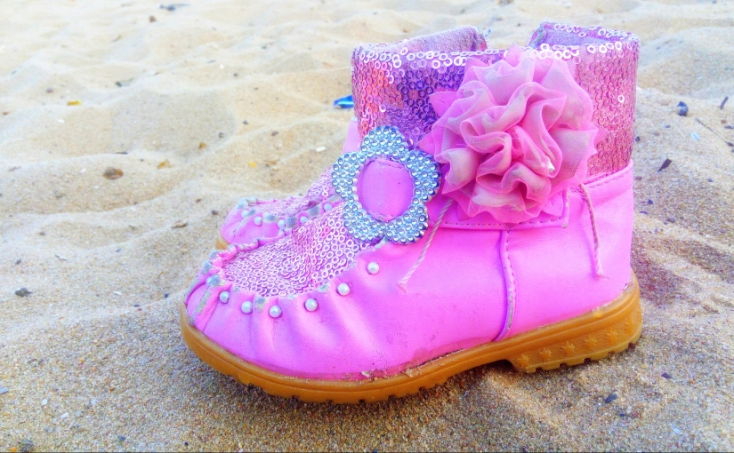 Pedestrian Sands - A picture of Baarbie's pink boots