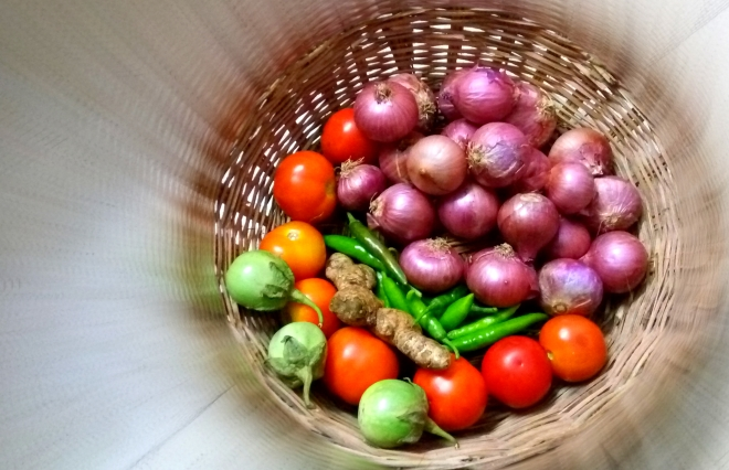 Rounded - A Picture of Vegetables in a Basket