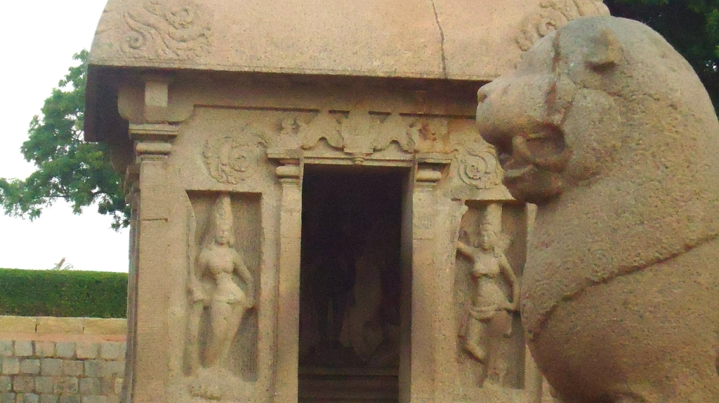 Peek Inside - A picture of one of the seven pagodas at Mahabalipuram juxtaposed with a profile of a lion sculpture
