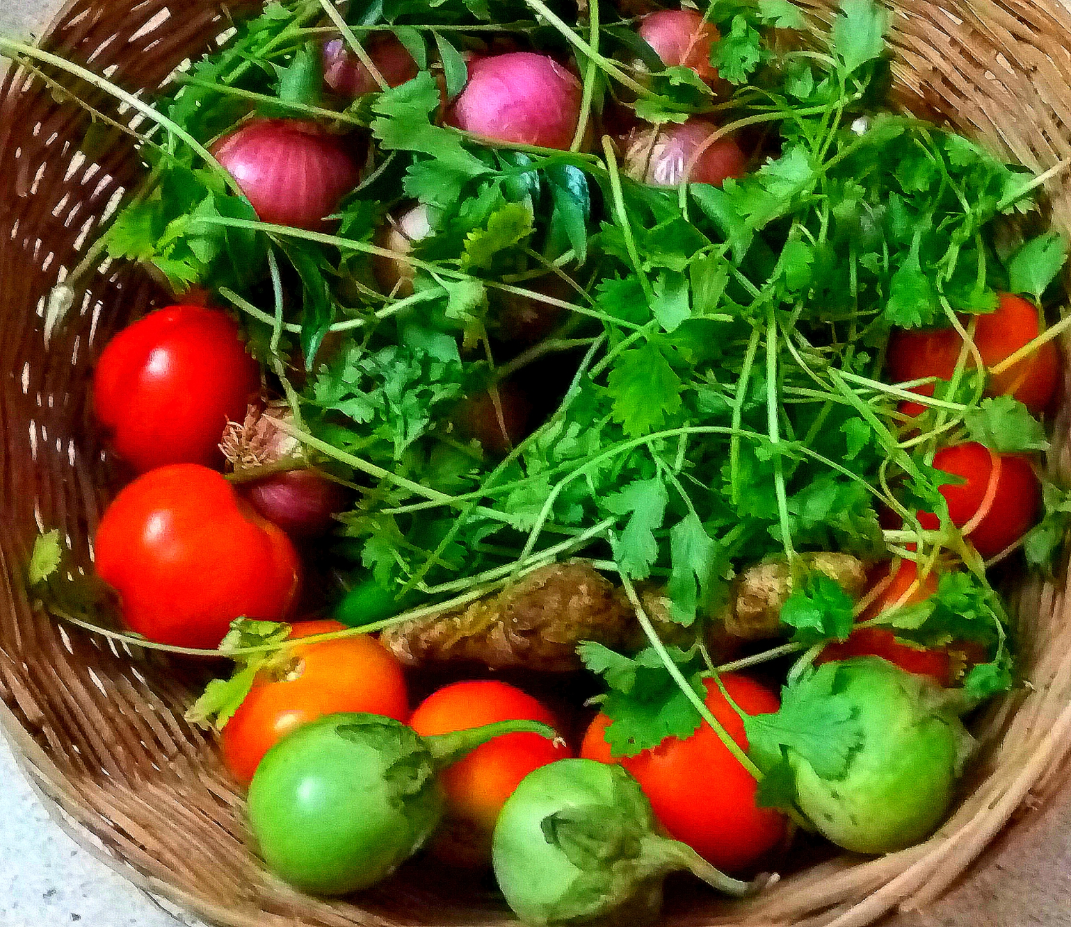 Cook, Eat and Drink - An aerial view of a basket of vegetables